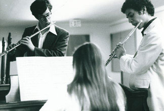 Teaching—students Gary Shocker and Jeffrey Khaner at a Julius Baker masterclass, where I assisted my former teacher