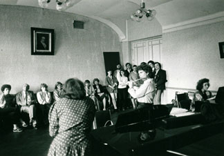 Masterclass at Leningrad Conservatory, while on tour with the New York Philharmonic