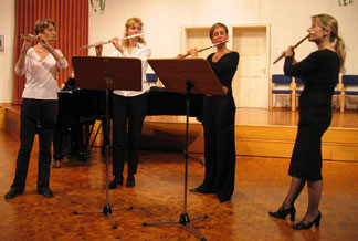 Valerie, Anna, Anne-Catherine, and Anna—performing at conclusion of Hammelberg, Germany masterclass